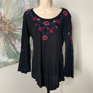 Black Embroidered Floral Crochet Sleeve Top 49